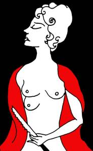 Image of a woman with a third breast and a bread knife.