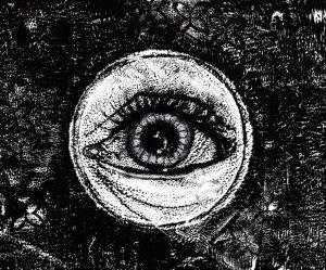 Eye looking through a peek hole