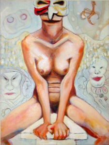Performer naked in mask - Oil painting by Jo Fisher Robers