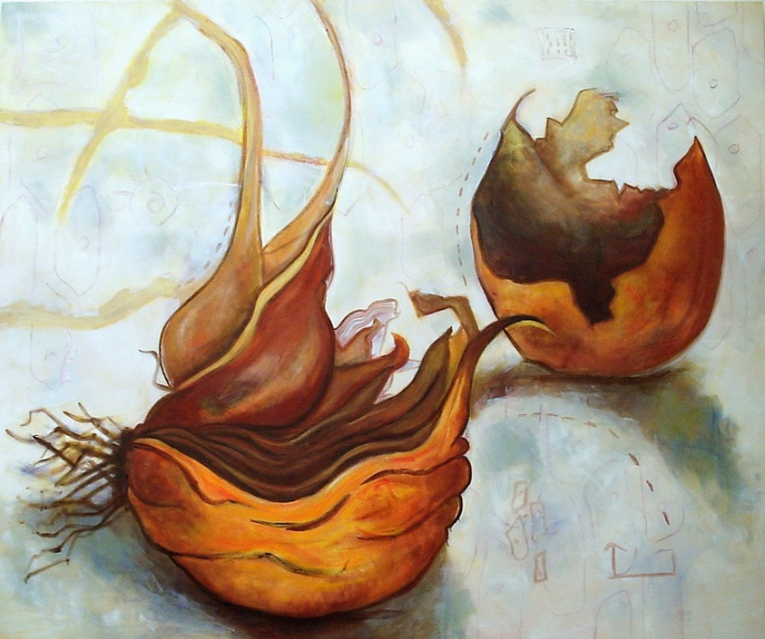 Dying Onion half, 12ft by 8ft Oil painting on Canvas
