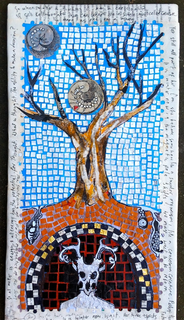 mosaic, tree and horned god