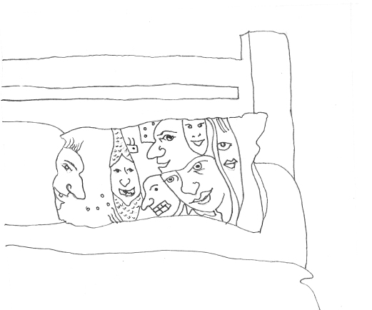 heads on pillowcase